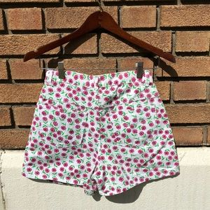 Floral print high waisted jean shorts by Route 66